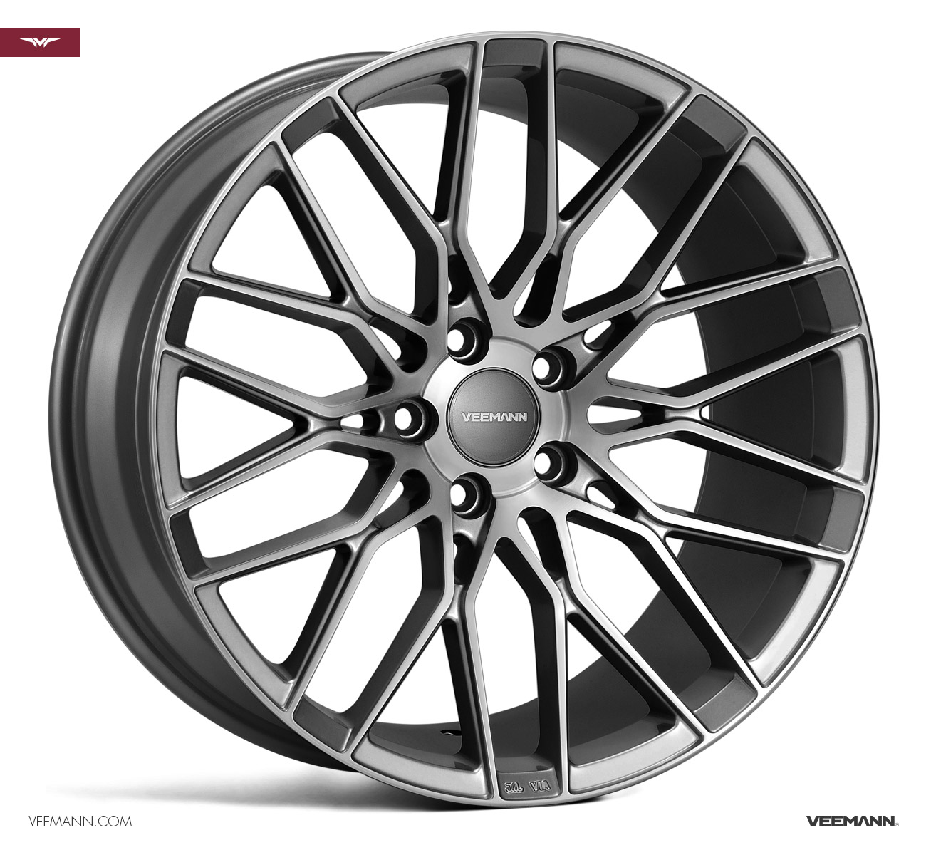 "NEW 19"" VEEMANN V-FS34 ALLOY WHEELS IN GLOSS GRAPHITE WITH WIDER 9.5"" REARS"